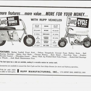 Rupp Ridge Runner and Dart Cycle Deluxe Ad
