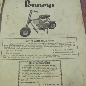 JC Penney Bird Foremost Minibike Owners Manual Cover