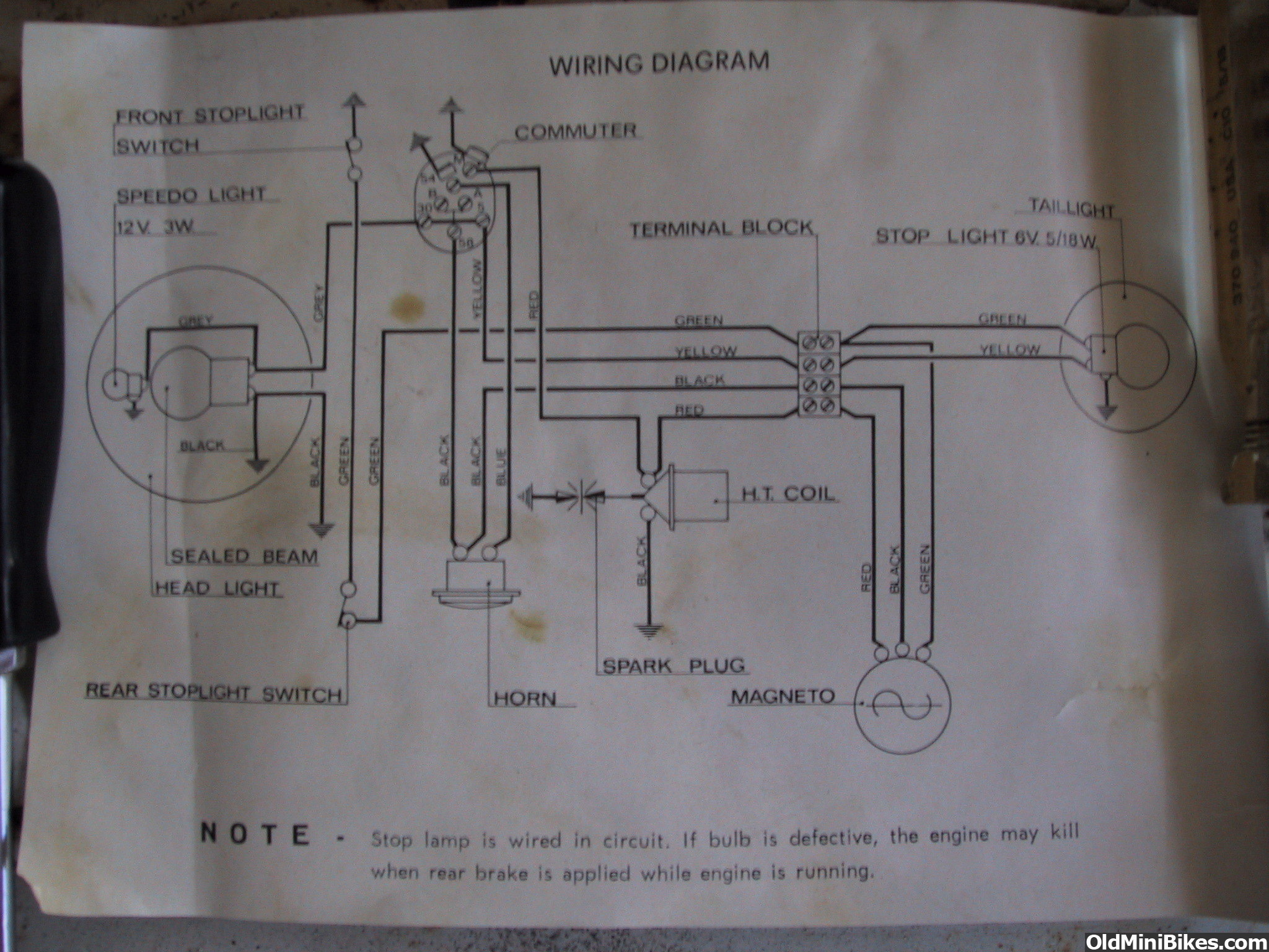 new old benelli dynamo this is the wiring schematic thats found in the owners manual for my hurricanes and also came an nos headlight and wiring kit for the benelli mini