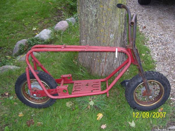 i have for sale an old bonanza mini bike its just a frame the swing arm is good frame is a project does have indentification tag on forks wrong tires